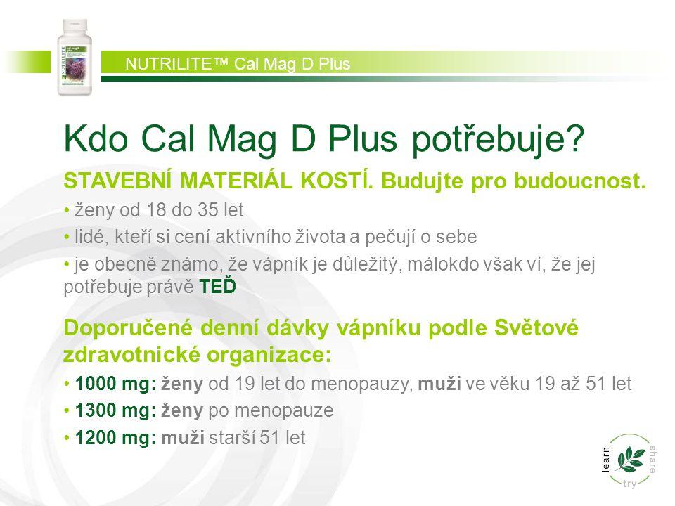 NUTRILITE™ Cal Mag D Plus Kdo Cal Mag D Plus potřebuje? STAVEBNÍ MATERIÁL KOSTÍ. Budujte pro budoucnost. ženy od 18 do 35 let lidé, kteří si cení akti
