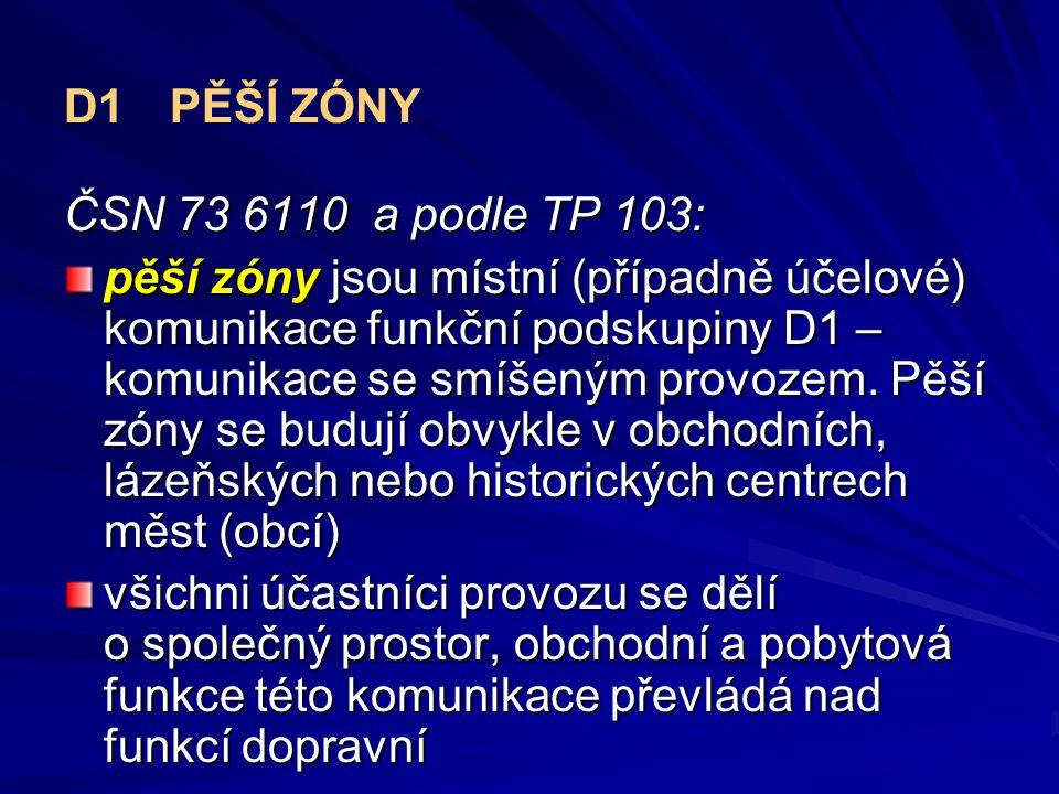 D1PĚŠÍ ZÓNY ČSN 73 6110 a podle TP 103: pěší zóny jsou místní (případně účelové) komunikace funkční podskupiny D1 – komunikace se smíšeným provozem.