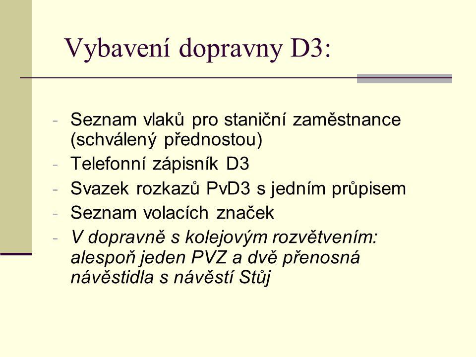 Vybavení dopravny D3: - Seznam vlaků pro staniční zaměstnance (schválený přednostou) - Telefonní zápisník D3 - Svazek rozkazů PvD3 s jedním průpisem -
