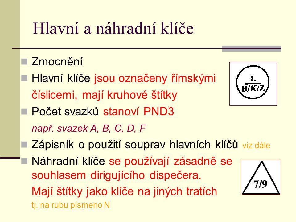 Hlavní a náhradní klíče Zmocnění Hlavní klíče jsou označeny římskými číslicemi, mají kruhové štítky Počet svazků stanoví PND3 např. svazek A, B, C, D,