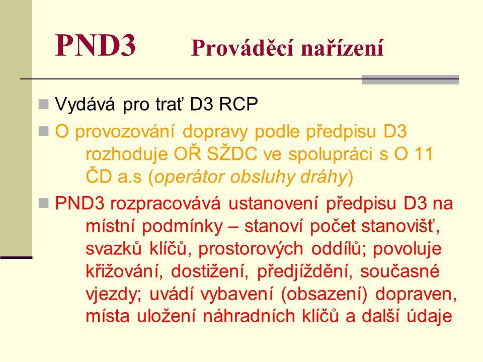 PND3 Prováděcí nařízení Vydává pro trať D3 RCP O provozování dopravy podle předpisu D3 rozhoduje OŘ SŽDC ve spolupráci s O 11 ČD a.s (operátor obsluhy