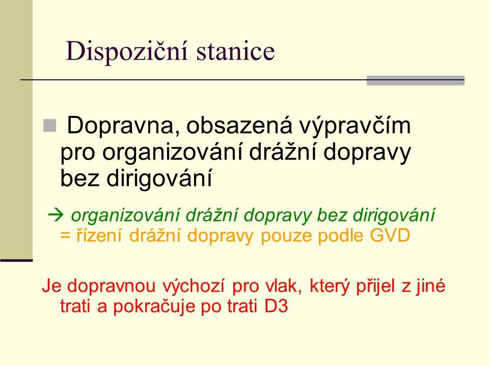 Dispoziční stanice Dopravna, obsazená výpravčím pro organizování drážní dopravy bez dirigování  organizování drážní dopravy bez dirigování = řízení d