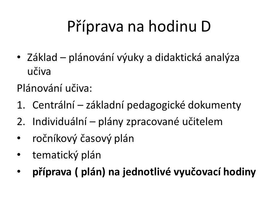 Příprava na hodinu D Základ – plánování výuky a didaktická analýza učiva Plánování učiva: 1.Centrální – základní pedagogické dokumenty 2.Individuální