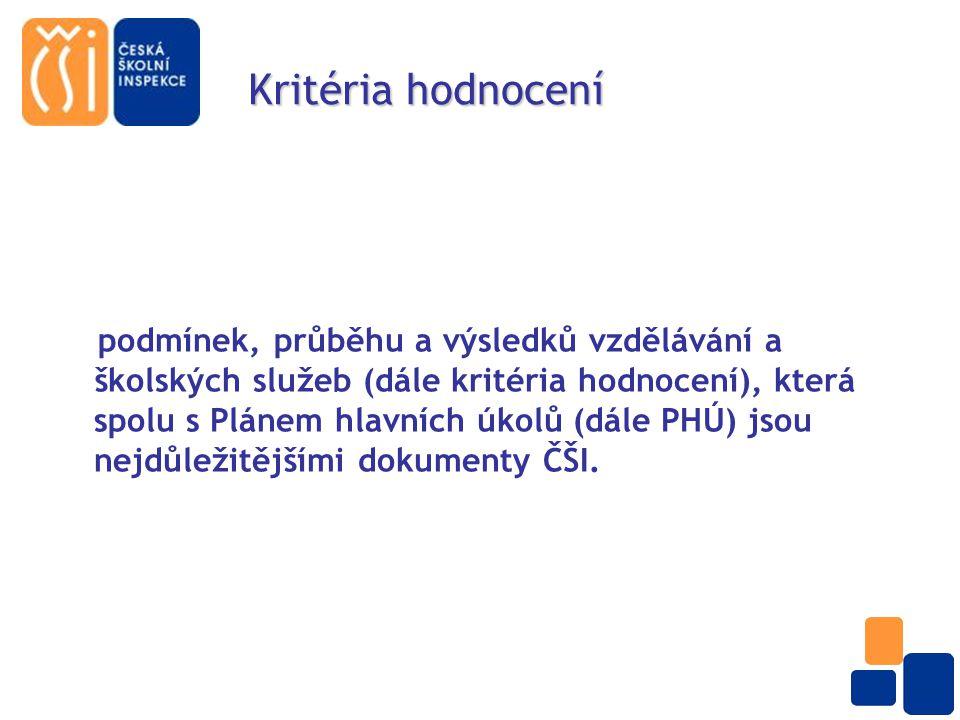 Národní hodnotící rámec vzdělávací soustavy v ČR Dnes již můžeme v podstatě říci, že kritéria tvoří národní hodnotící rámec vzdělávací soustavy v ČR, vzhledem k úkolům, které ČŠI plní a má nastaveny ve své koncepci do roku 2013 a také například k terminologii, kterou užívá novelizovaná vyhláška č.