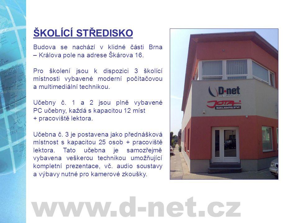 Učebna č.1 Kapacita: 12 ks PC stanic + lektorské pracoviště Konfigurace PC: Intel Celeron 3 GHz; 512 MB RAM; HDD 120 GB; 17 LCD Software: MS Windows XP, MS Office 2003 Prezentační technika: projektor, plátno, Flip chart Pronájem školící místnosti:dle dohody Služby související z pronájmem školící místnosti, zahrnuté v ceně pronájmu: výdejní stojan na vodu (chlazená i horká voda) káva a čaj v termoskách