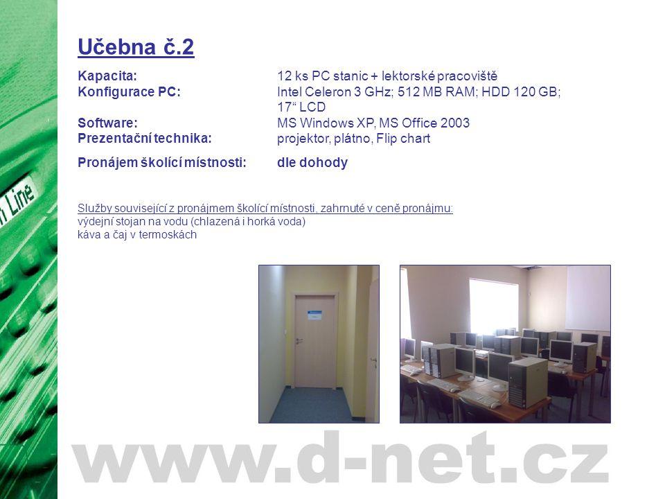 """Učebna č.2 Kapacita: 12 ks PC stanic + lektorské pracoviště Konfigurace PC: Intel Celeron 3 GHz; 512 MB RAM; HDD 120 GB; 17"""" LCD Software: MS Windows"""