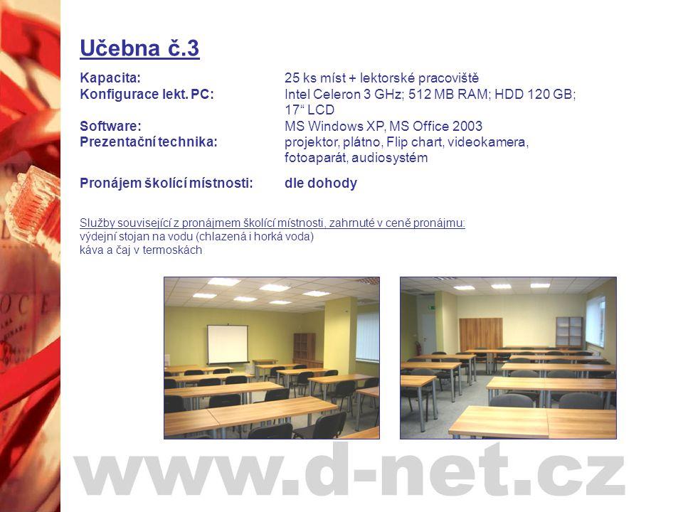 """Učebna č.3 Kapacita: 25 ks míst + lektorské pracoviště Konfigurace lekt. PC: Intel Celeron 3 GHz; 512 MB RAM; HDD 120 GB; 17"""" LCD Software: MS Windows"""