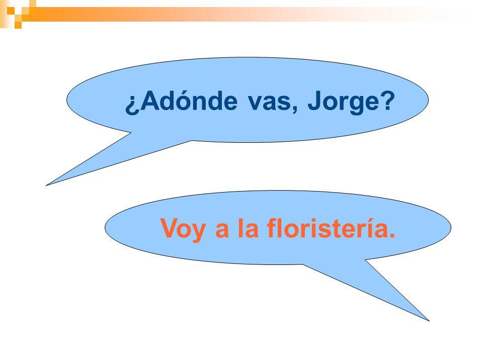 ¿Adónde vas, Jorge Voy a la floristería.