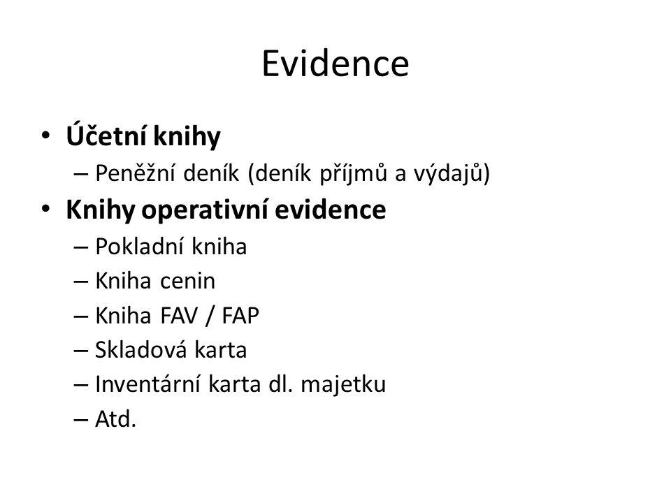 Evidence Účetní knihy – Peněžní deník (deník příjmů a výdajů) Knihy operativní evidence – Pokladní kniha – Kniha cenin – Kniha FAV / FAP – Skladová ka