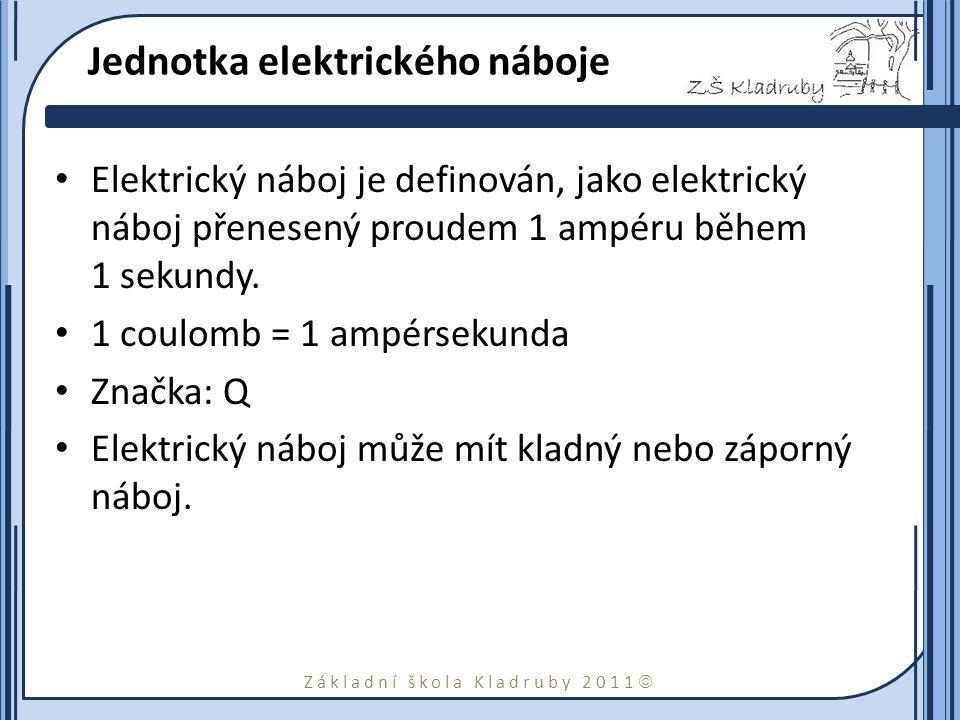 Základní škola Kladruby 2011  Jednotka elektrického náboje Elektrický náboj je definován, jako elektrický náboj přenesený proudem 1 ampéru během 1 se