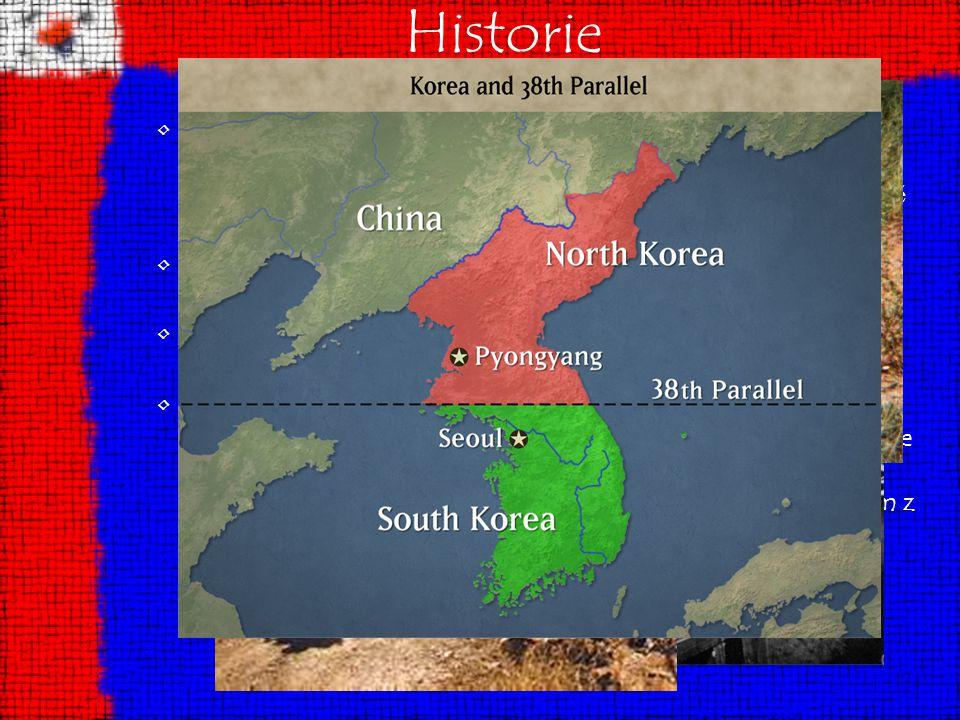 Historie Na konci 2. sv ě tové války byla Korea rozd ě lena podél 38. rovnob ě žky na severní č ást, jež byla okupována Sov ě tským svazem, a na jižní