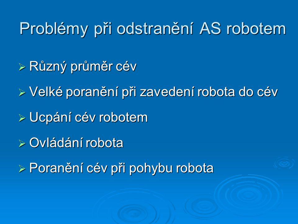 Problémy při odstranění AS robotem  Různý průměr cév  Velké poranění při zavedení robota do cév  Ucpání cév robotem  Ovládání robota  Poranění cév při pohybu robota
