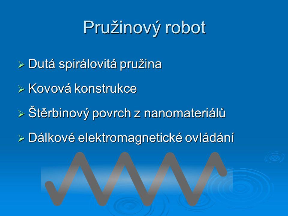Pružinový robot  Dutá spirálovitá pružina  Kovová konstrukce  Štěrbinový povrch z nanomateriálů  Dálkové elektromagnetické ovládání