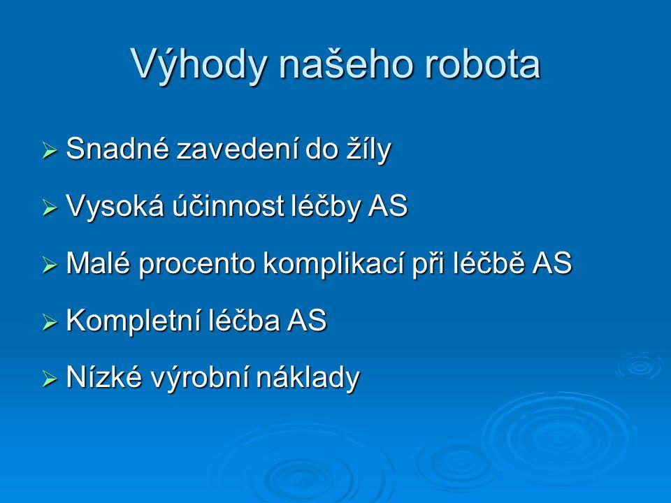 Výhody našeho robota  Snadné zavedení do žíly  Vysoká účinnost léčby AS  Malé procento komplikací při léčbě AS  Kompletní léčba AS  Nízké výrobní náklady