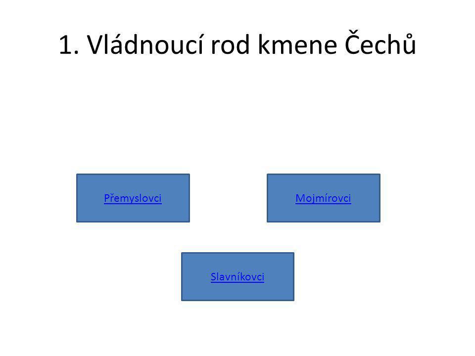 1. Vládnoucí rod kmene Čechů PřemyslovciMojmírovci Slavníkovci
