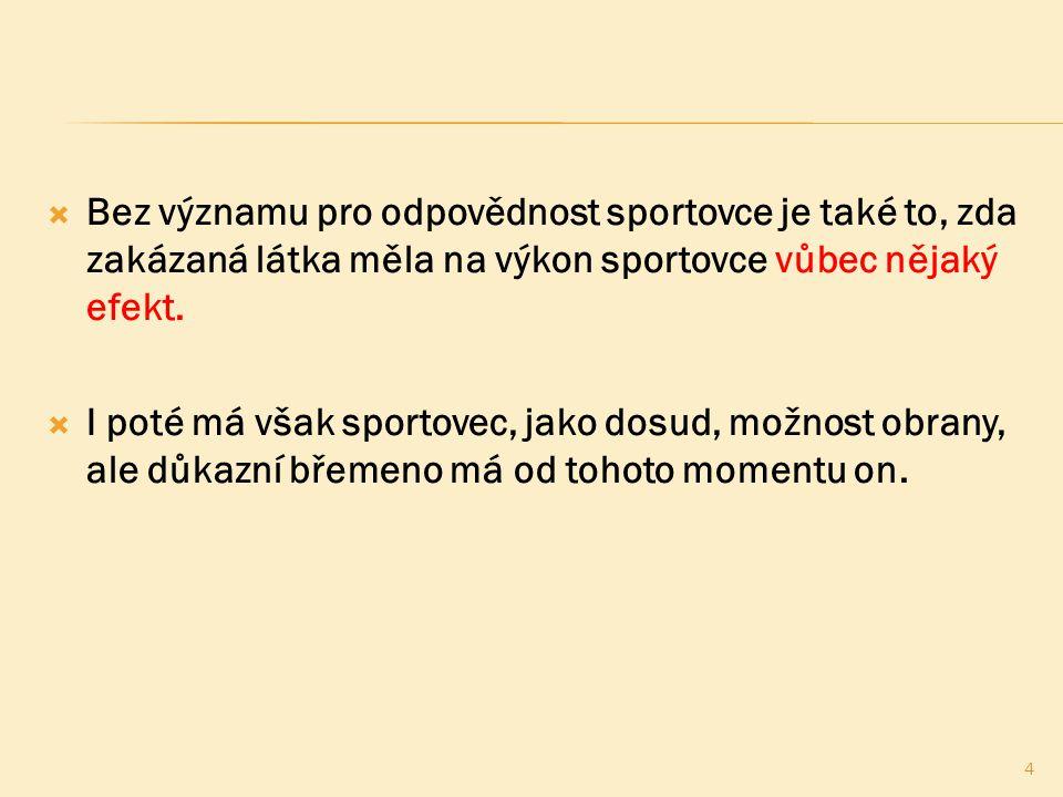  Samotné prohlášení sportovce, jeho jakkoli silné zapřísahání, apod.
