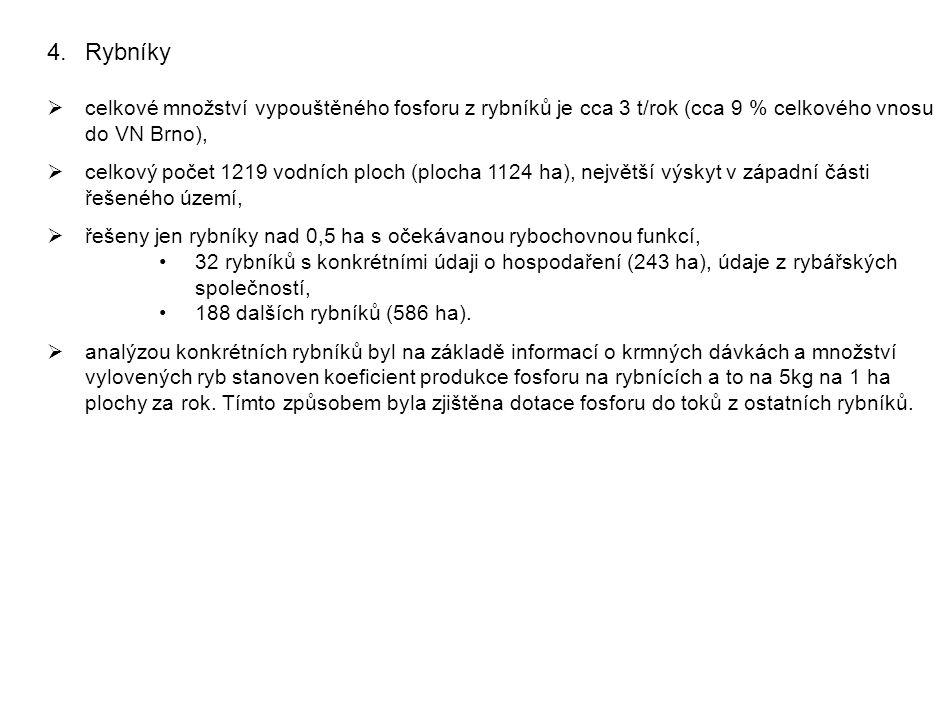 4.Rybníky  celkové množství vypouštěného fosforu z rybníků je cca 3 t/rok (cca 9 % celkového vnosu do VN Brno),  celkový počet 1219 vodních ploch (plocha 1124 ha), největší výskyt v západní části řešeného území,  řešeny jen rybníky nad 0,5 ha s očekávanou rybochovnou funkcí, 32 rybníků s konkrétními údaji o hospodaření (243 ha), údaje z rybářských společností, 188 dalších rybníků (586 ha).