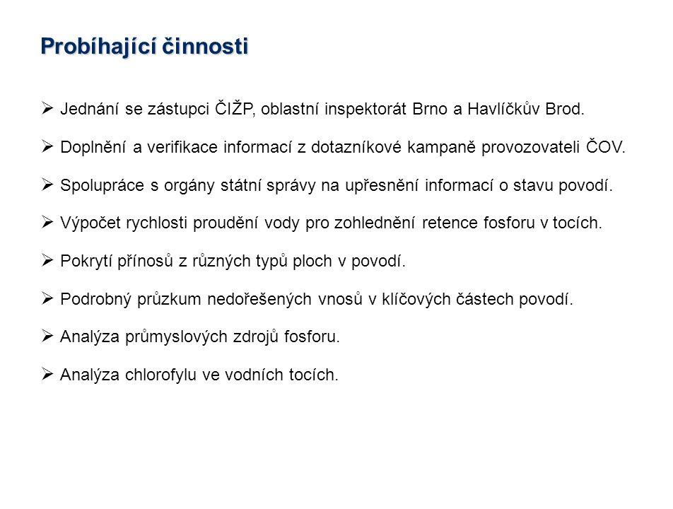  Jednání se zástupci ČIŽP, oblastní inspektorát Brno a Havlíčkův Brod.  Doplnění a verifikace informací z dotazníkové kampaně provozovateli ČOV.  S