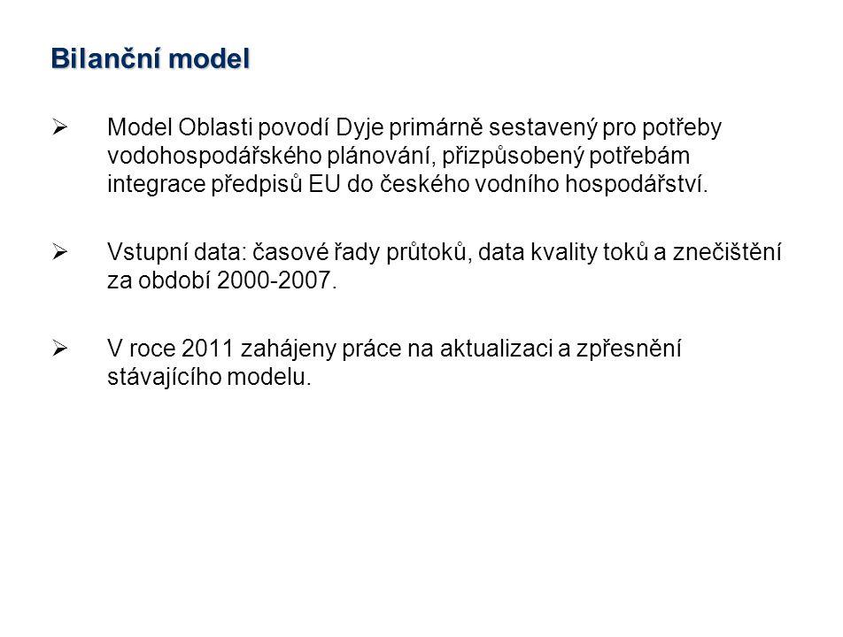 Cíle bilančního modelu  Tvorba bilančního modelu pro období 2007-2009 se simulací stavu 2011 (rok 2010 byl průtokově výrazně nestandardní).