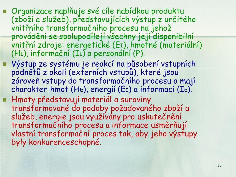 12 Systémová představa fungování organizace VÝSTUP (produkt) VSTUP Cash Flow Interní zdroje Externí vstupy Interakce peněžní pumpa Interakce E HEHE IE