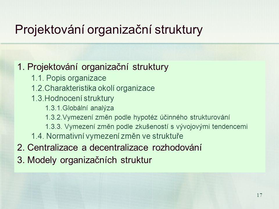 16 Projektování organizační struktury Ředitel instituce Ústav managementu Ústav financí Ústav ekonomiky Ústav jazyků Projekt integrace do grantů EU Pr