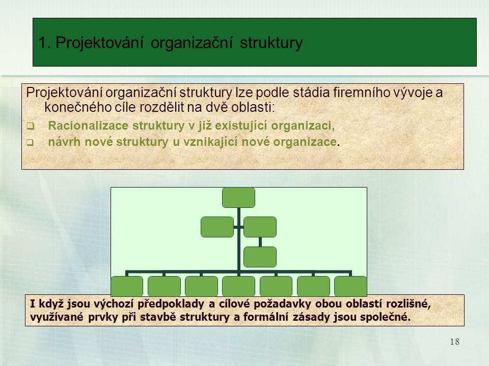 17 1. Projektování organizační struktury 1.1. Popis organizace 1.2.Charakteristika okolí organizace 1.3.Hodnocení struktury 1.3.1.Globální analýza 1.3