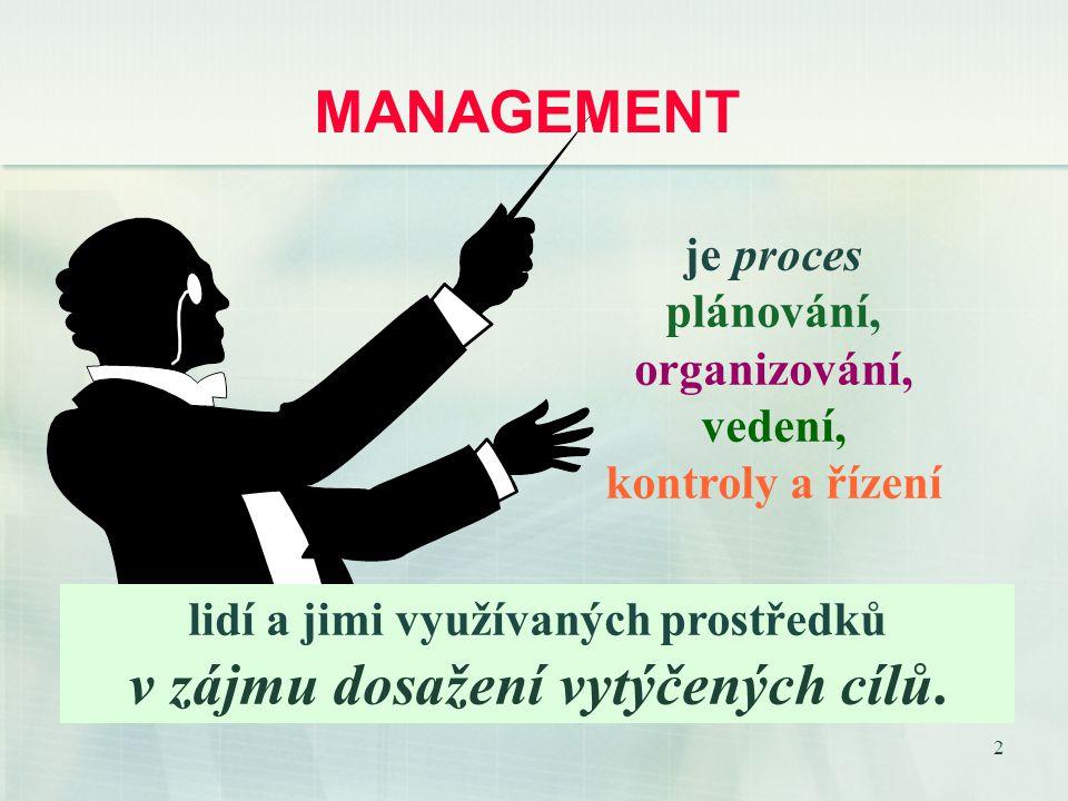 2 MANAGEMENT je proces plánování, organizování, vedení, kontroly a řízení lidí a jimi využívaných prostředků v zájmu dosažení vytýčených cílů.