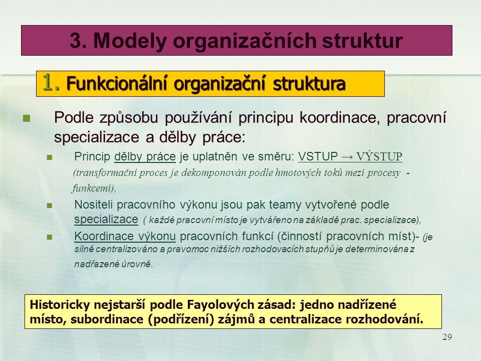28 2. Centralizace a decentralizace rozhodování Centralizace: Výhoda: U rozhodovacích pravomocí umožňuje lepší koordinaci výkonu jednotlivých činností