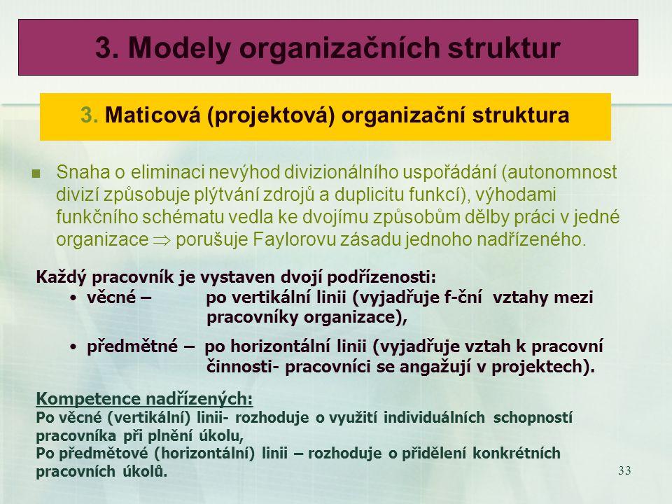 32 2. Divizní (předmětová) organizační struktura Divize vznikají seskupení organizačních útvarů podle tří hledisek: Výrobně-technologického, obchodně-