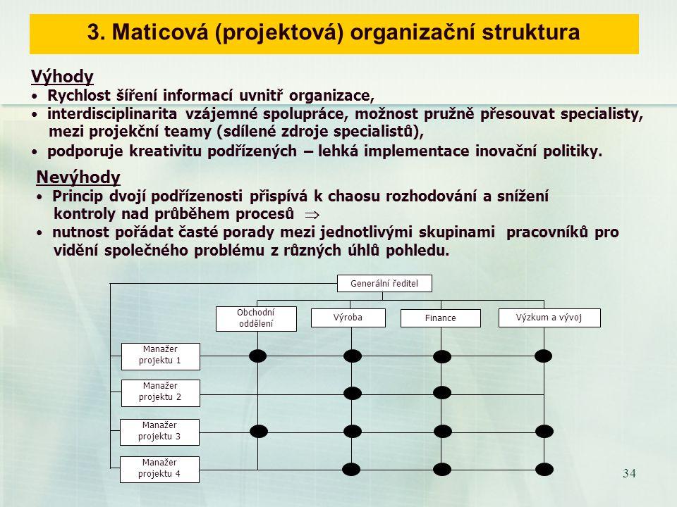 33 Snaha o eliminaci nevýhod divizionálního uspořádání (autonomnost divizí způsobuje plýtvání zdrojů a duplicitu funkcí), výhodami funkčního schématu vedla ke dvojímu způsobům dělby práci v jedné organizace  porušuje Faylorovu zásadu jednoho nadřízeného.