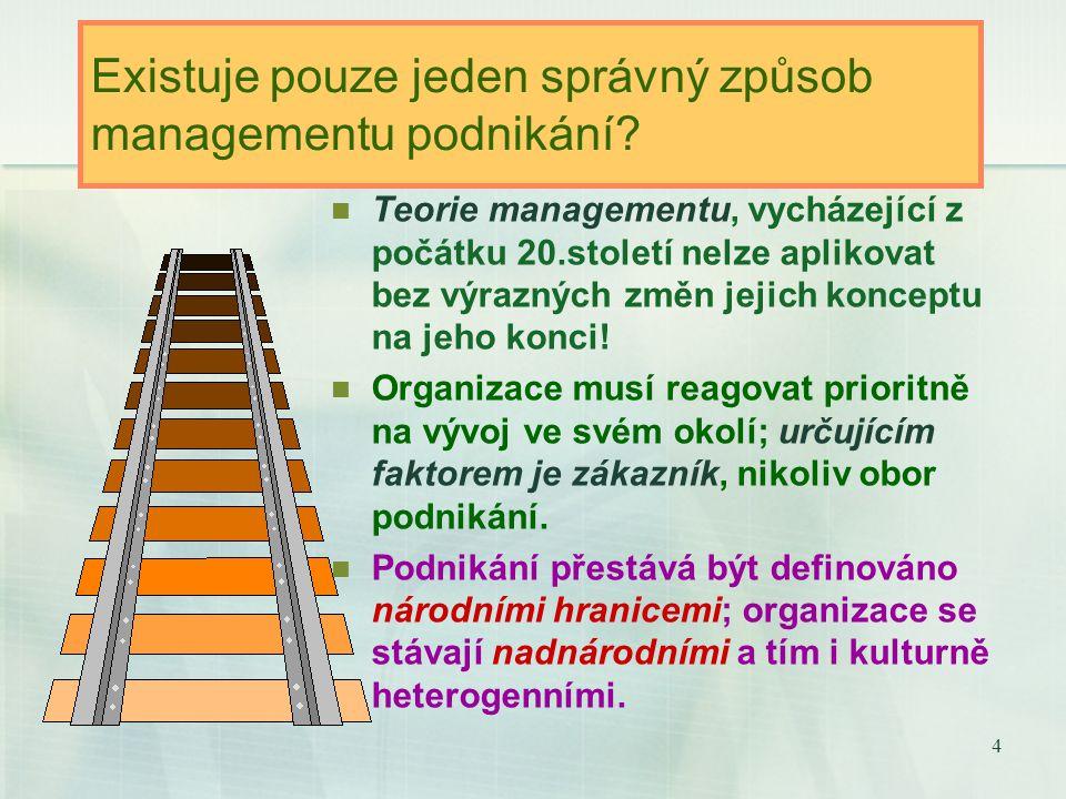 4 Existuje pouze jeden správný způsob managementu podnikání.