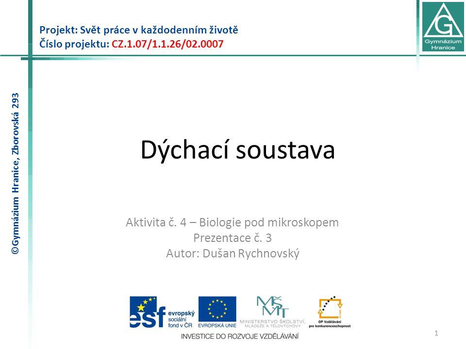 Dýchací soustava Projekt: Svět práce v každodenním životě Číslo projektu: CZ.1.07/1.1.26/02.0007 1 Aktivita č.