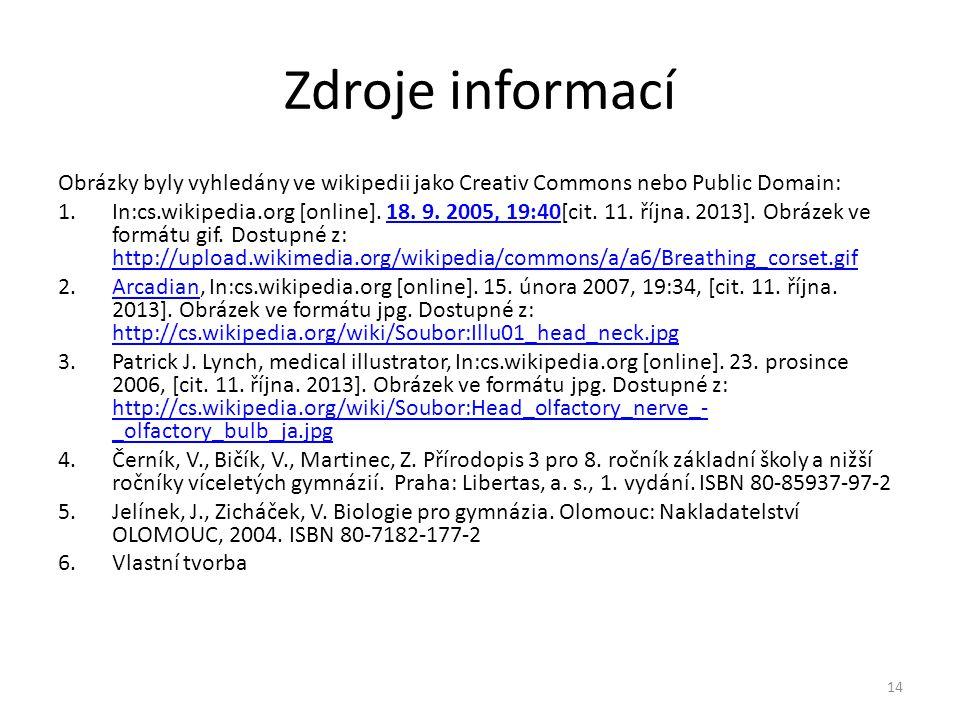 Zdroje informací Obrázky byly vyhledány ve wikipedii jako Creativ Commons nebo Public Domain: 1.In:cs.wikipedia.org [online].