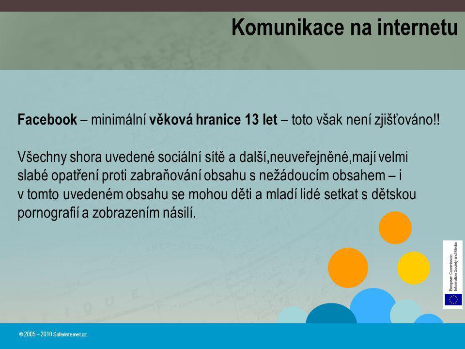 © 2005 – 2010 Saferinternet.cz Komunikace na internetu Facebook – minimální věková hranice 13 let – toto však není zjišťováno!! Všechny shora uvedené