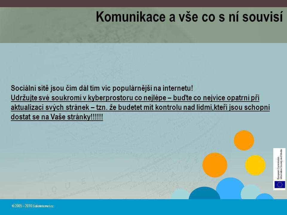 © 2005 – 2010 Saferinternet.cz Komunikace a vše co s ní souvisí Sociální sítě jsou čím dál tím víc populárnější na internetu! Udržujte své soukromí v