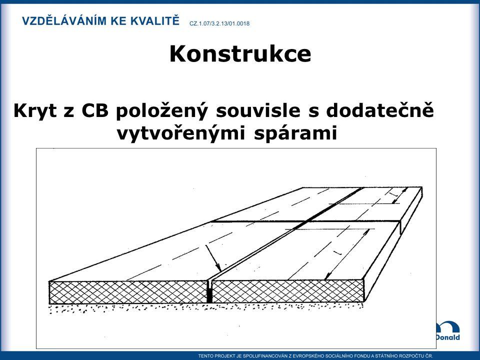 Konstrukce Kryt z CB položený souvisle s dodatečně vytvořenými spárami