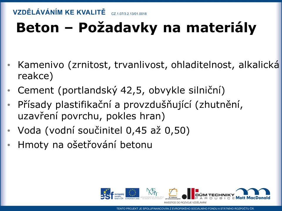 Beton – Požadavky na materiály Kamenivo (zrnitost, trvanlivost, ohladitelnost, alkalická reakce) Cement (portlandský 42,5, obvykle silniční) Přísady p