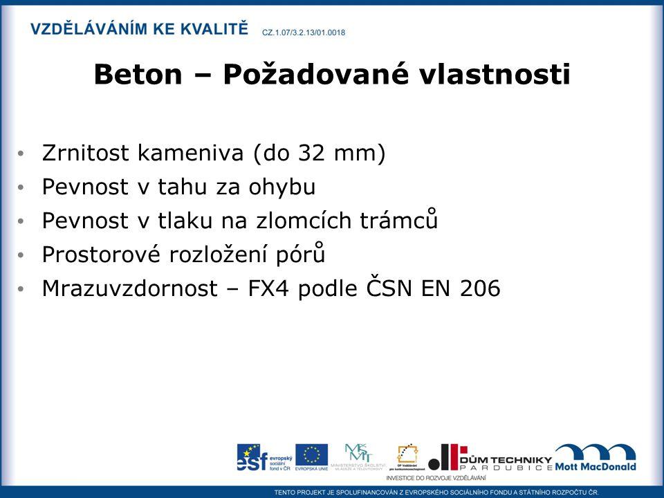Beton – Požadované vlastnosti Zrnitost kameniva (do 32 mm) Pevnost v tahu za ohybu Pevnost v tlaku na zlomcích trámců Prostorové rozložení pórů Mrazuv