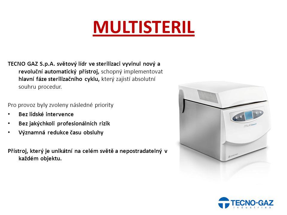 MULTISTERIL TECNO GAZ S.p.A. světový lídr ve sterilizaci vyvinul nový a revoluční automatický přístroj, schopný implementovat hlavní fáze sterilizační
