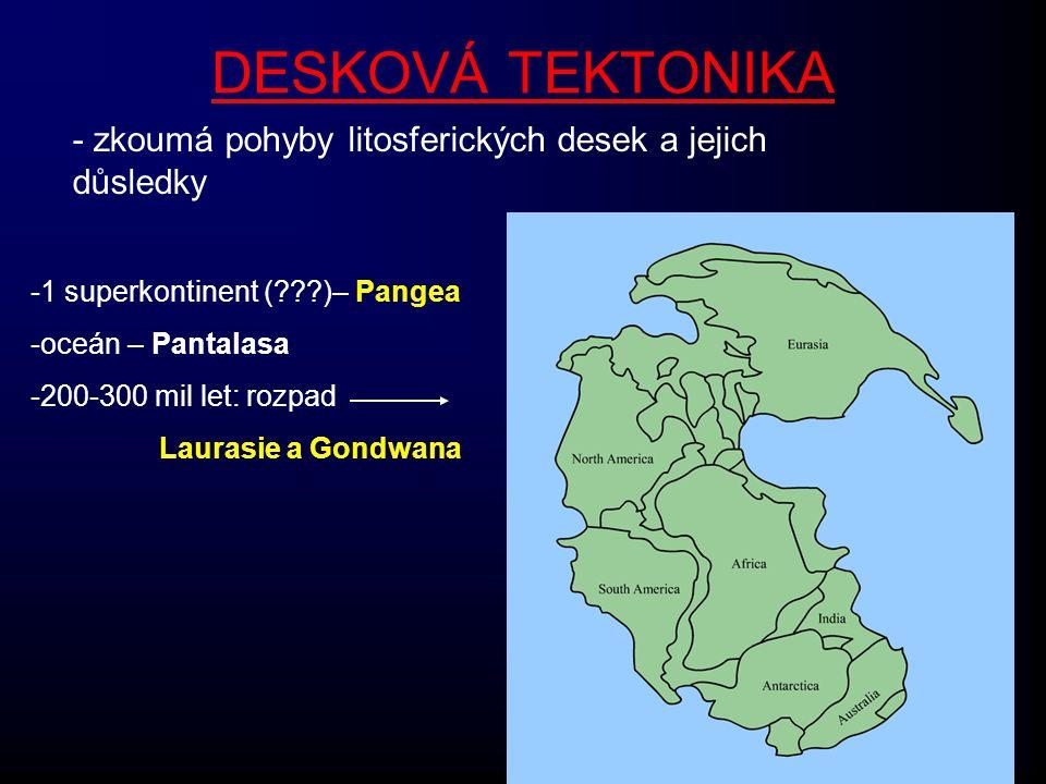 DESKOVÁ TEKTONIKA - zkoumá pohyby litosferických desek a jejich důsledky -1 superkontinent (???)– Pangea -oceán – Pantalasa -200-300 mil let: rozpad L