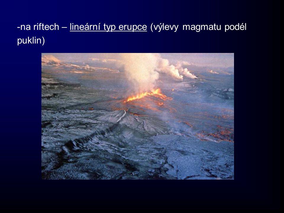 -na riftech – lineární typ erupce (výlevy magmatu podél puklin)