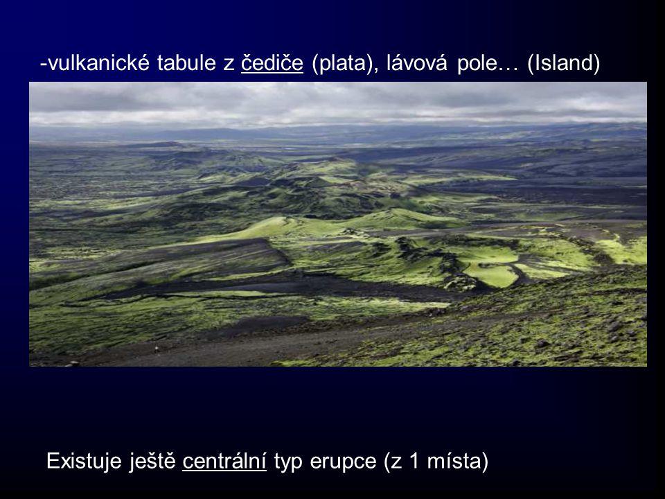 -vulkanické tabule z čediče (plata), lávová pole… (Island) Existuje ještě centrální typ erupce (z 1 místa)