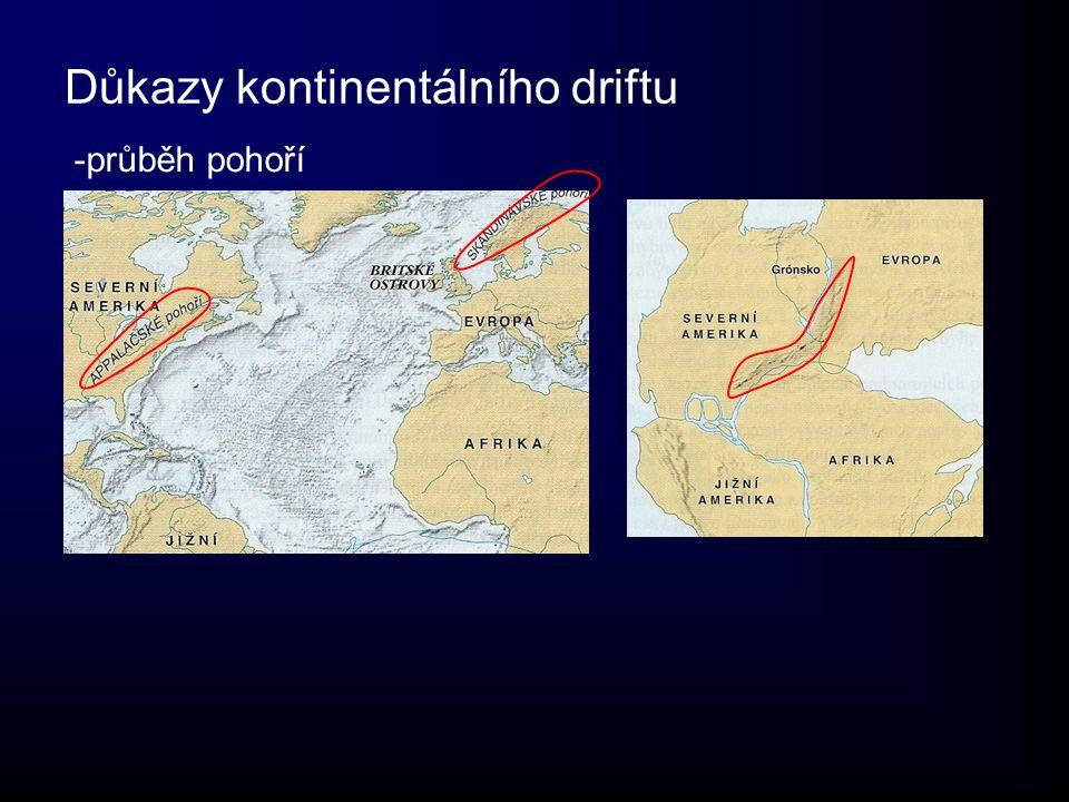 Důkazy kontinentálního driftu -průběh pohoří