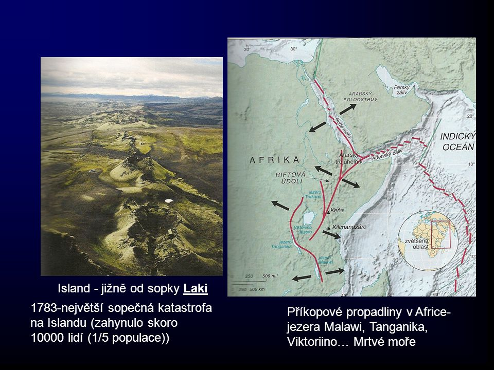Island - jižně od sopky Laki 1783-největší sopečná katastrofa na Islandu (zahynulo skoro 10000 lidí (1/5 populace)) Příkopové propadliny v Africe- jez
