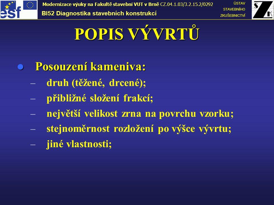 POPIS VÝVRTŮ Posouzení kameniva: Posouzení kameniva: – druh (těžené, drcené); – přibližné složení frakcí; – největší velikost zrna na povrchu vzorku;