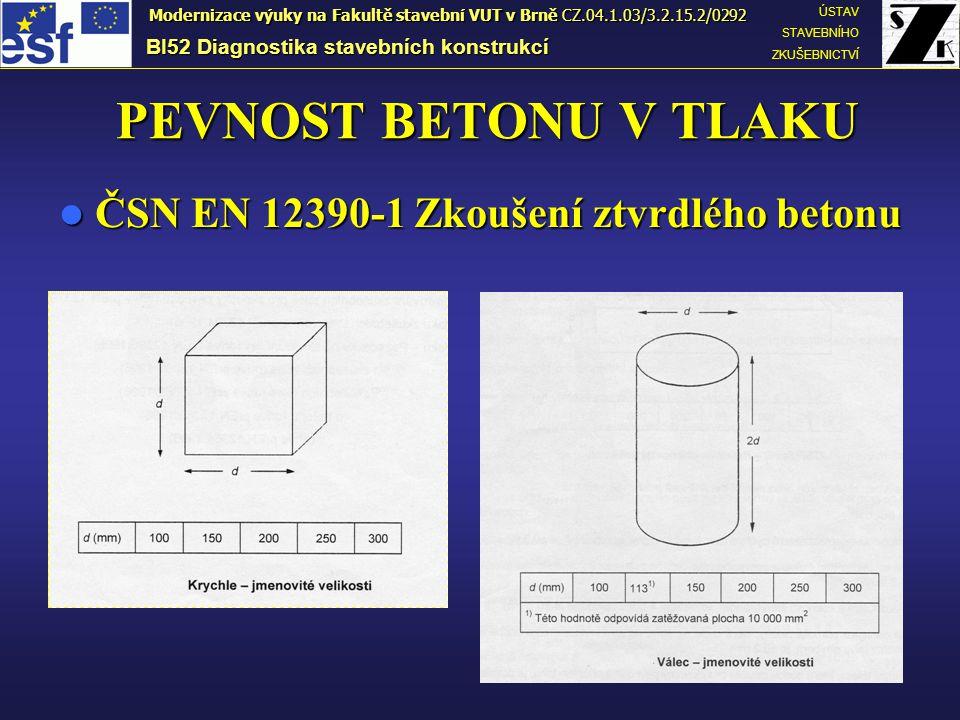 PEVNOST BETONU V TLAKU ČSN EN 12390-1 Zkoušení ztvrdlého betonu ČSN EN 12390-1 Zkoušení ztvrdlého betonu BI52 Diagnostika stavebních konstrukcí ÚSTAV