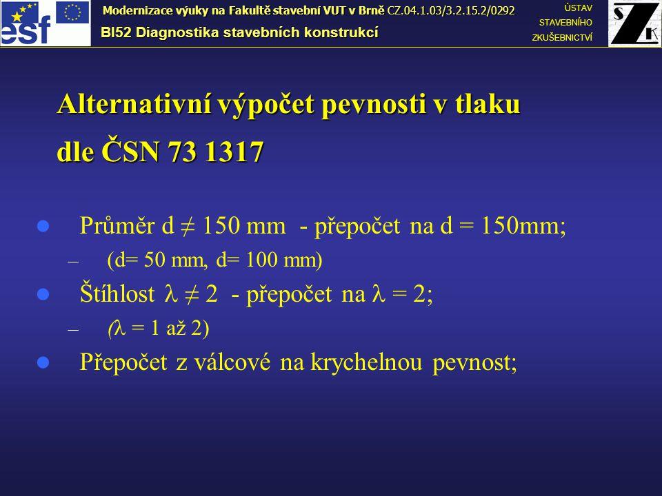Alternativní výpočet pevnosti v tlaku dle ČSN 73 1317 Průměr d ≠ 150 mm - přepočet na d = 150mm; – (d= 50 mm, d= 100 mm) Štíhlost ≠ 2 - přepočet na =