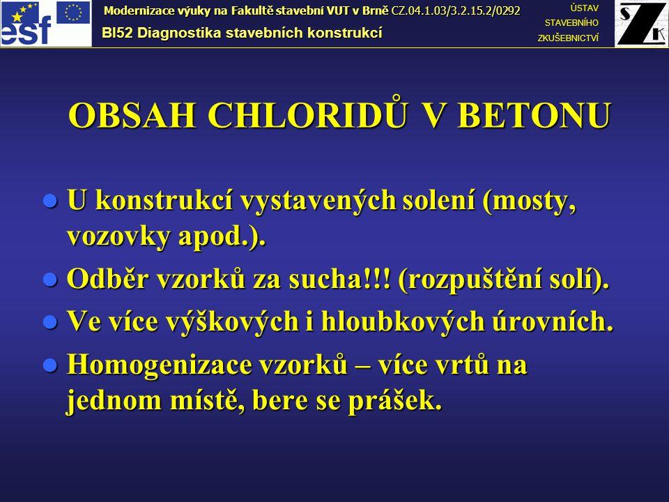 OBSAH CHLORIDŮ V BETONU U konstrukcí vystavených solení (mosty, vozovky apod.). U konstrukcí vystavených solení (mosty, vozovky apod.). Odběr vzorků z