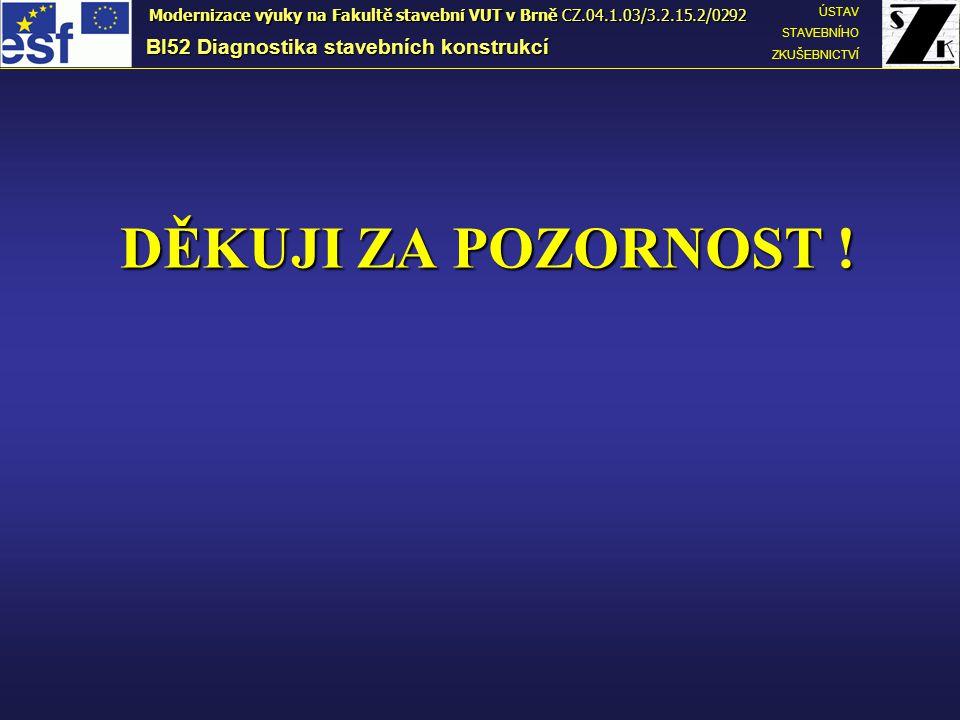 DĚKUJI ZA POZORNOST ! BI52 Diagnostika stavebních konstrukcí ÚSTAV STAVEBNÍHO ZKUŠEBNICTVÍ Modernizace výuky na Fakultě stavební VUT v Brně CZ.04.1.03