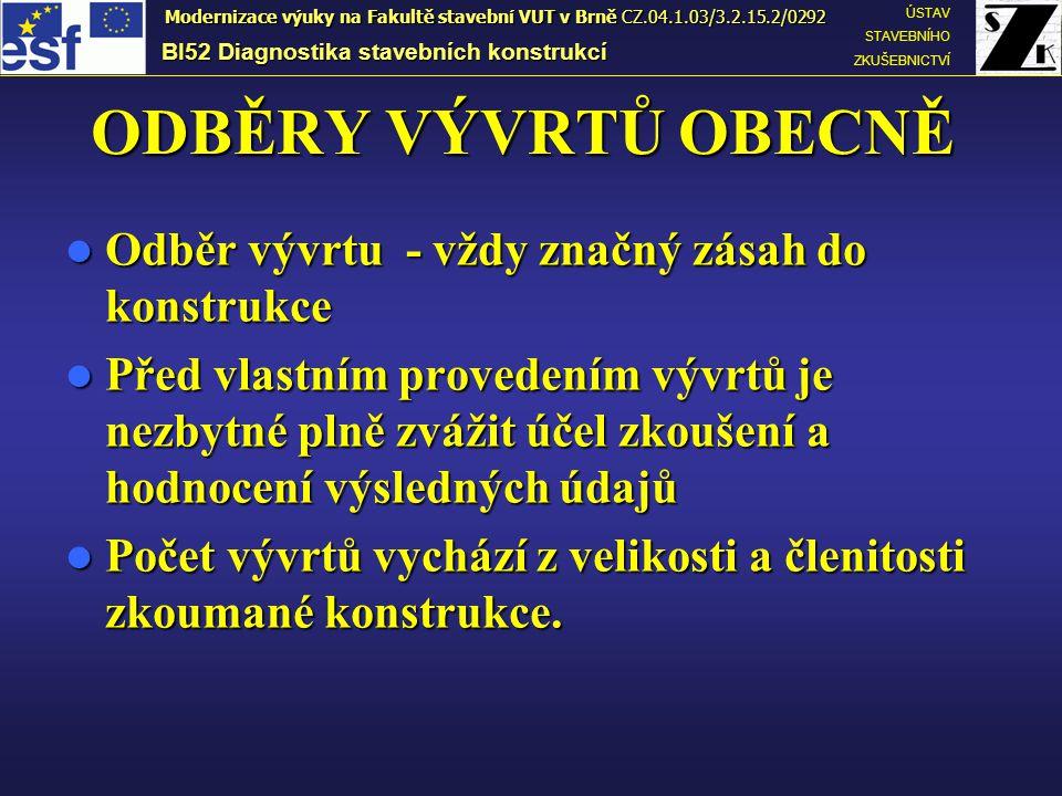 Jádrové vývrty ze sloupů, f c = 0 až 5 MPa Jádrové vývrty ze sloupů, f c = 0 až 5 MPa BI52 Diagnostika stavebních konstrukcí ÚSTAV STAVEBNÍHO ZKUŠEBNICTVÍ Modernizace výuky na Fakultě stavební VUT v Brně CZ.04.1.03/3.2.15.2/0292